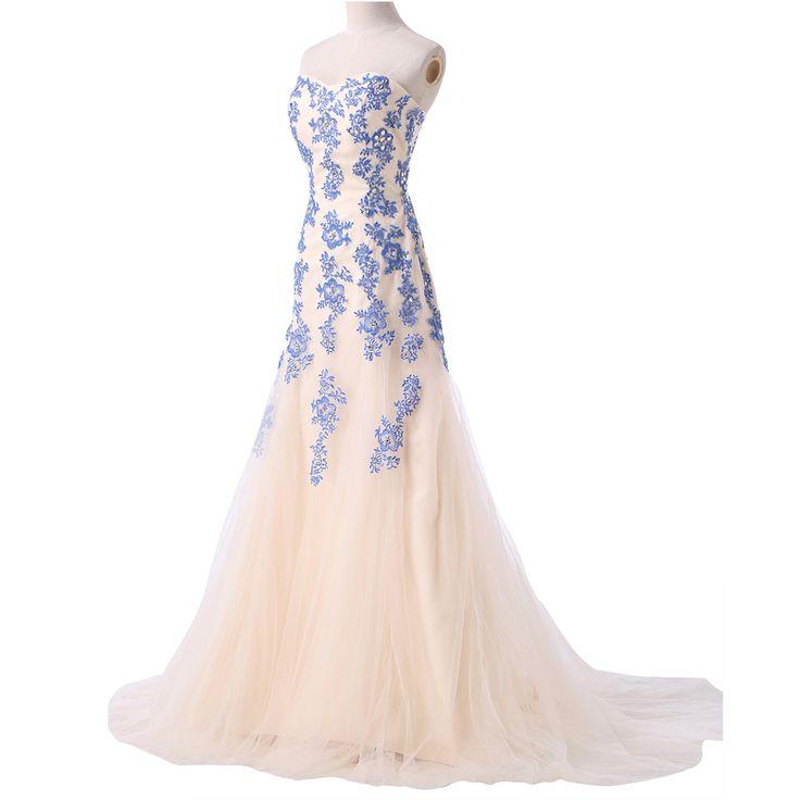 Strapless Tulle Mermaid Floor Length Evening Dress - Uniqistic.com