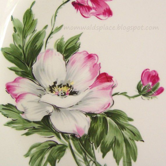 pink poppies plate close-up from Etsy @MomWaldsPlace