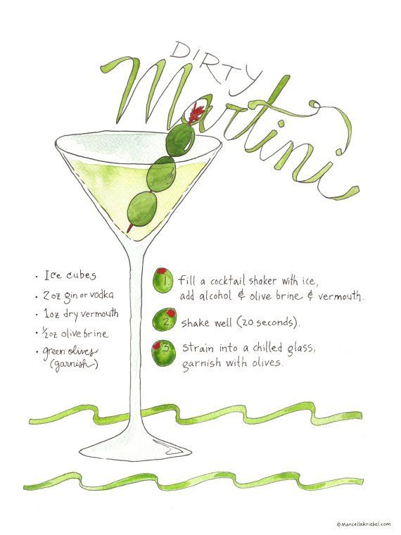 This is an illustrated recipe of a Dirty Martini recipe, including ingredients and preparation. The lettering is hand drawn lettering and recipe is tested. This art print is printed on 100# Ecosilk Ar
