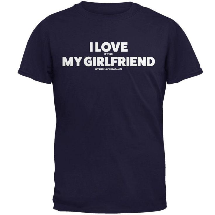 Valentines I Love My Girlfriend Video Games Navy Adult T-Shirt