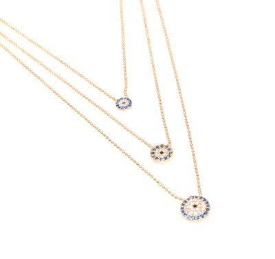 925 Ayar Gümüştür. Kısa zincir:40 cm uzun zincir: 50 cm max: 52 cm Nazar Boncuklu ve kalemli top zincir kullanılarak imal edilmiştir. kilit kısmında birleşen 3 kolyeden oluşmaktadır. Pembe renklidir. Gramı: 6,95