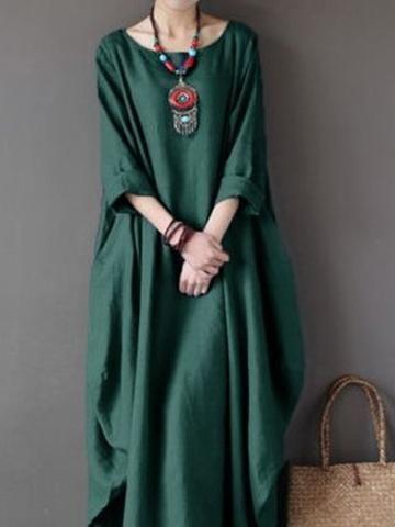 bb8d4cb260 Linen Long Sleeve Crew Neck Cocoon Solid Plus Size Maxi Dress ...