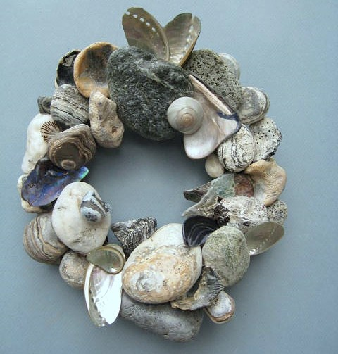 Blue Gray and White Rock Wreath With Shells or Candle Ring @ BeacheryDesigns