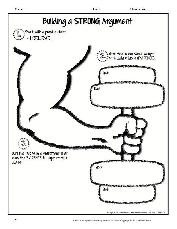 Build a STRONG argument graphic organizer. From my