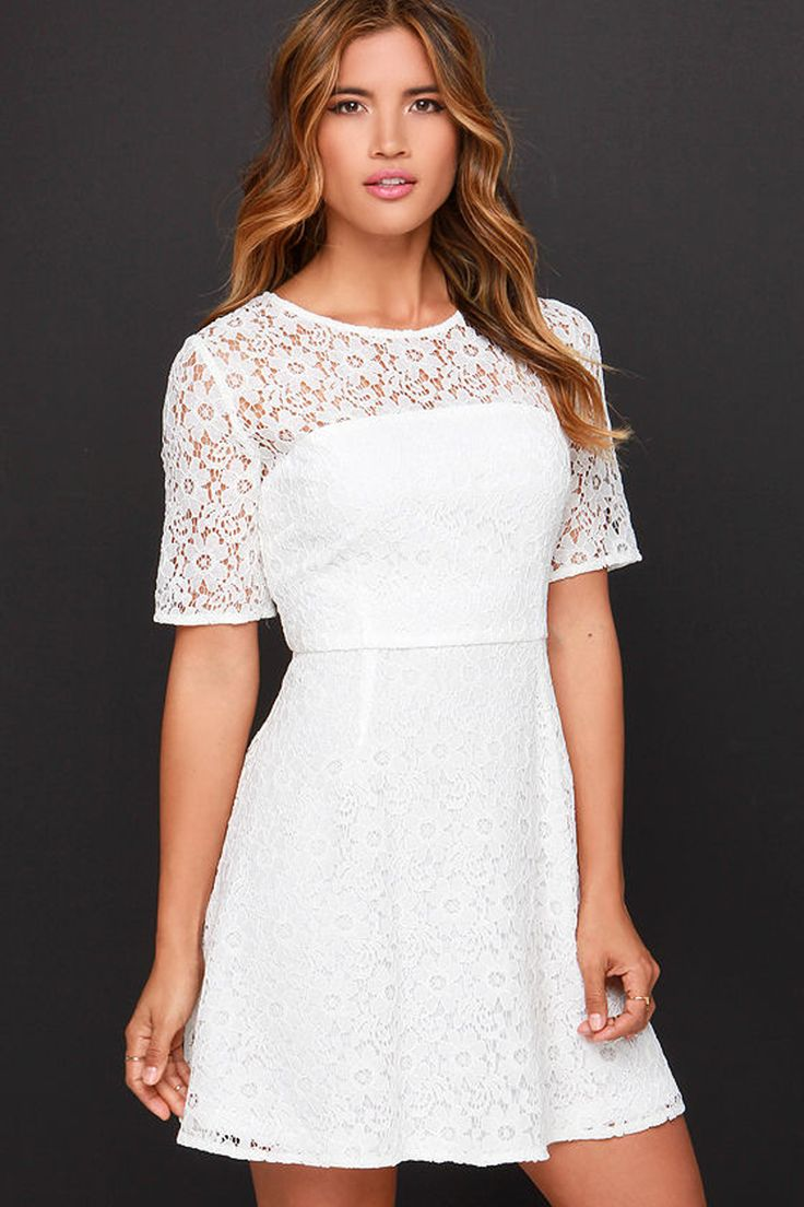 Love and Laughter Ivory Lace Dress, $45, lulus.com   - Seventeen.com