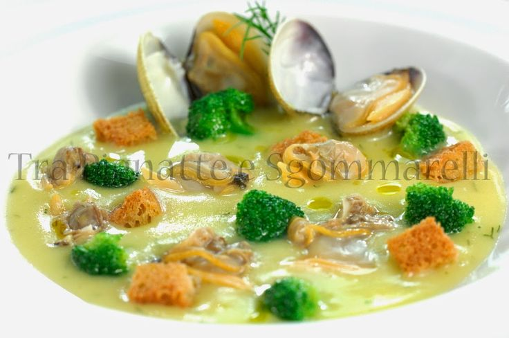 Crema di patate all'aneto, con vongole, broccoletti siciliani e crostini di pane all'aglio | Tra pignatte e sgommarelli