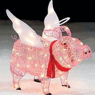 "Trim A Home® -28"" Lighted Angel Pig Outdoor Christmas Decoration ..."