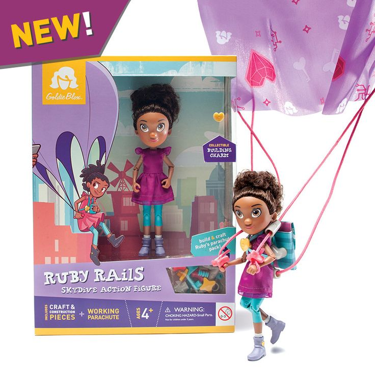 Goldie's tech-savvy and stylish BFF Ruby Rails is ready to head out on a skydiving adventure. She has fully-articulated joints, hands that grip, and a kit to build her coder backpack and working fabri