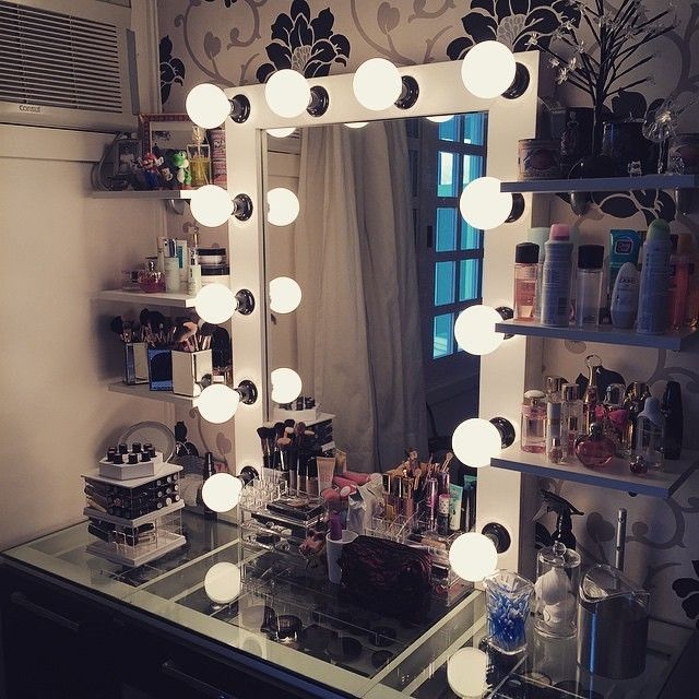 Glass Table, Shelving, Mirror