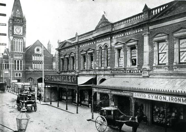 Hay Street, Perth, looking east towards Town Hall from what is now the Mall, 1880s