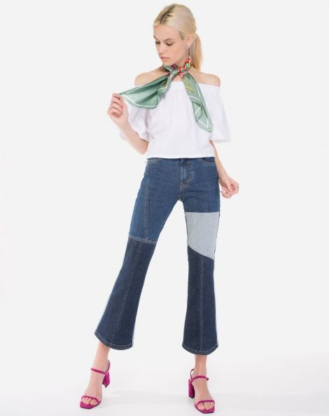 2296a9fcb CALÇA JEANS FLARE CROPPED RECORTES | Sewing, recycle clothes | Jeans ...
