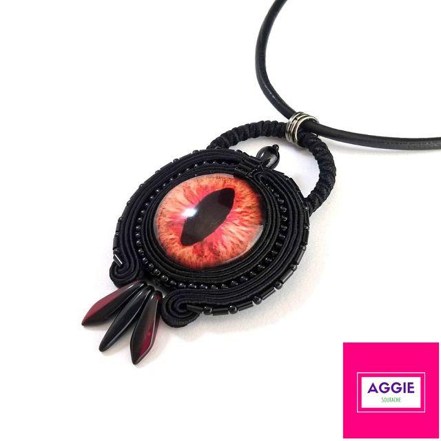 Czarny wisiorek sutasz Smocze Oko ;  Black soutache pendant Dragon Eye