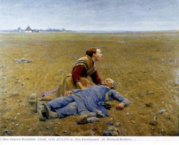 """Billedet er malet i 1889. Dette billede hedder """"Udslidt"""", og er malet i 1889, af H. A. Brendekilde. Eksempel på et billede fra Det moderne gennembrud. En realistisk gengivelse af virkeligheden."""