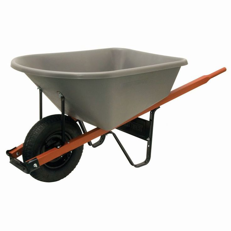 Ames 6-Cubic-Foot Contractor Wheelbarrow (6cf Heavy Duty Wheelbarrow W/ Poly Tray), Grey (Plastic) #CP6
