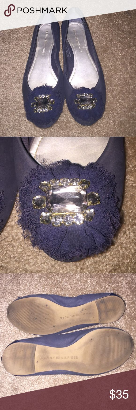 ✨SALE ✨Tommy Hilfiger navy blue jeweled flats Nothing dresses up flats than a nice statement jewel!  These navy blue flats make a statement and add a bit of class to any outfit.  Worn twice in the city, hence the bottom looking worn in so I'm offering a great price!! Tommy Hilfiger Shoes Flats & Loafers