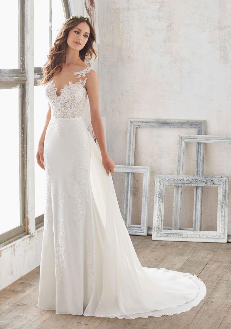 Blu by Morilee Marisol 5503 Crepe Chiffon Sheath Wedding Dress - Off White Bride | Wedding dress