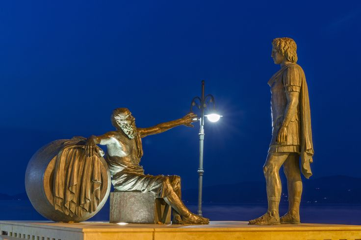 Diogenes and Alexander the Great - A complex that represents a famous historic scene between the philosopher Diogenes and Alexander the Great. The latest went to Corinth, in order to arrange the preparations of all Greeks against Persian empire, and he paid a visit to Diogenes who by then was living in a jar (seen at the left of the picture). The discussion between the two men was recorded in history, though the most well known part of it was this dialogue: Alexander: Do you need anything…