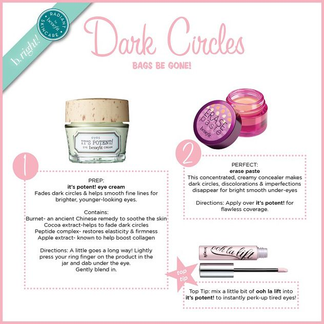 Benefit- Erase paste tip for dark circles: apply over it's potent for flawless coverage.