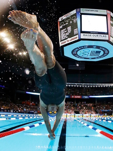 Dara Torres dives at the start of the women's 50-meter freestyle final at the U.S. Olympic swimming trials on Monday, July 2, 2012, in Omaha, Neb. Jessica Hardy won the final. (AP Photo/Mark Humphrey) MARK HUMPHREY - AP