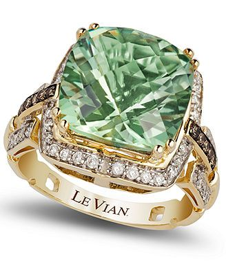Le Vian Green Amethyst (6 ct. t.w.) and Diamond (1/4 ct. t.w.) Ring in 14k Gold