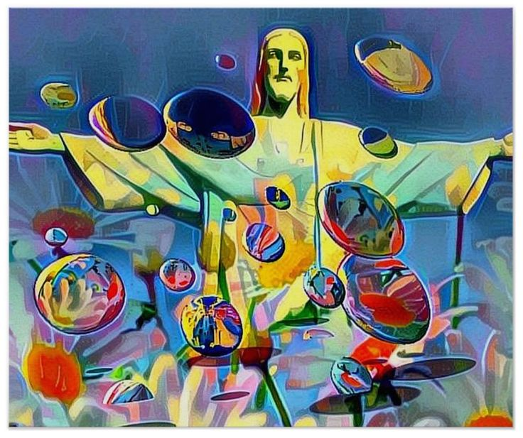 With the world-wide coverage of the Olympic Games this amazing statue of Christ the Redeemer was seen by millions. I've decorated the poster with reflective drones flying in all directions. They are unmanned so I hope they don't crash into each other! A novel poster for your home decor renovations.
