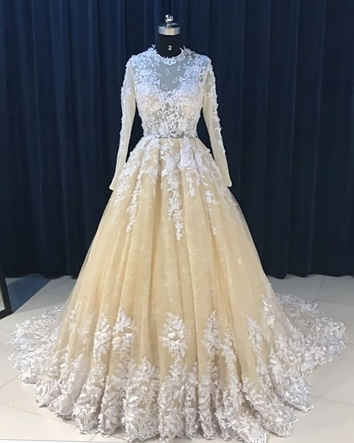 2019 Champagne Tulle Long Sleeve Applique Formal Dress Lace Evening Dress Formal Dresses Lace Evening Dresses Cute Prom Dresses