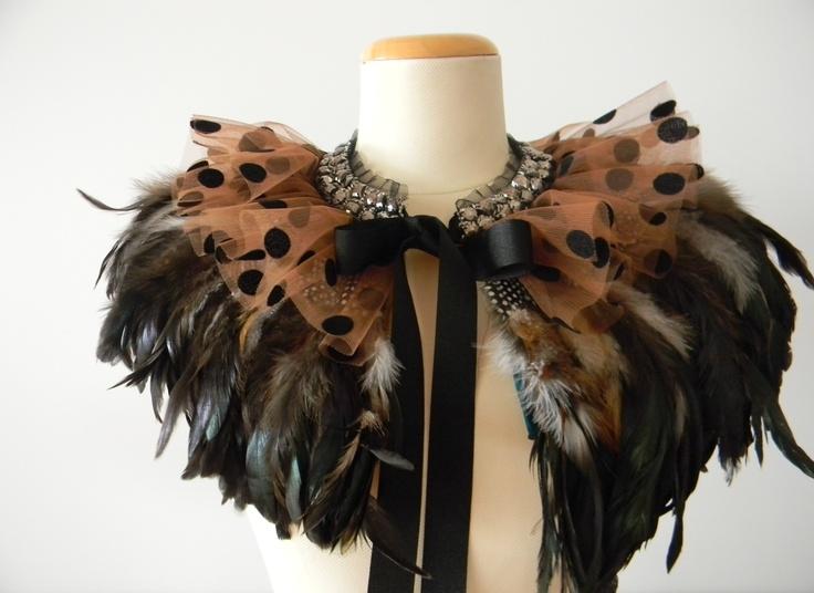 SoniaM Designs Fabulous Spot Feather Cape, feather cape