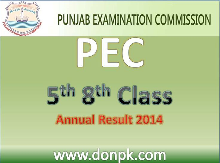 PEC 5th 8th Class Result 2014 Online Punjab Examination Commission