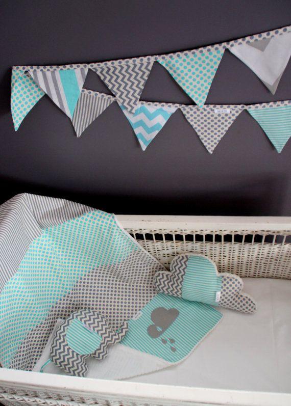 grey and Aqua blue bunting. Baby boy nursery decor. Boys bedroom bunting. grey chevron, blue stripe, aqua bunting. baby shower gift. nursery on Etsy, $47.40