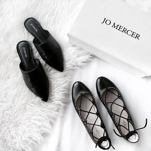 Flat favorites KEIRA and WHIP. #jomercershoes #flatlay #monochrome