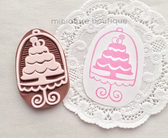 Wedding cake  cake stand  hand carved stamp by miniatureboutique