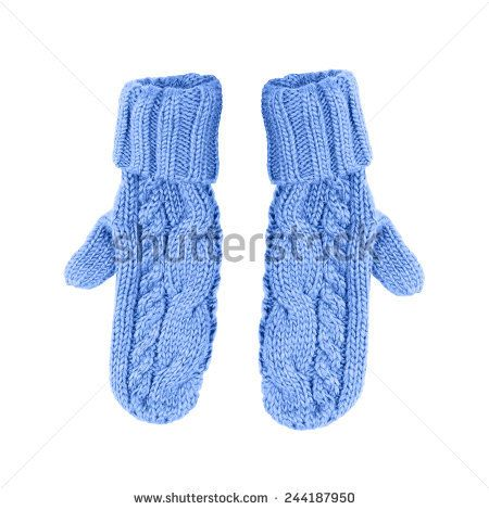 blue mittens on a white background is insulated