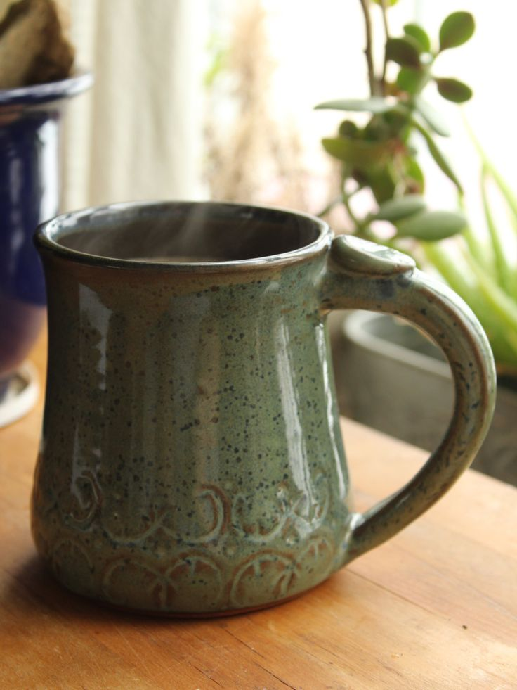 Made to Order / Green and Blue Speckle Mug / 16 Ounce Mug / Double Curve Motif Mug by SisguDesigns on Etsy