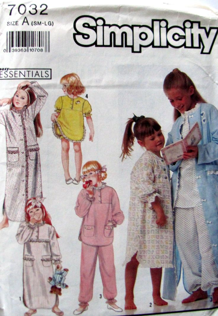 Simplicity 7032, Girl's Nightgowns in 2 Lengths, Pajama's, Baby Dolls and Bathrobe Sewing Pattern, Girls Sizes 3 to  6X by OnceUponAnHeirloom on Etsy