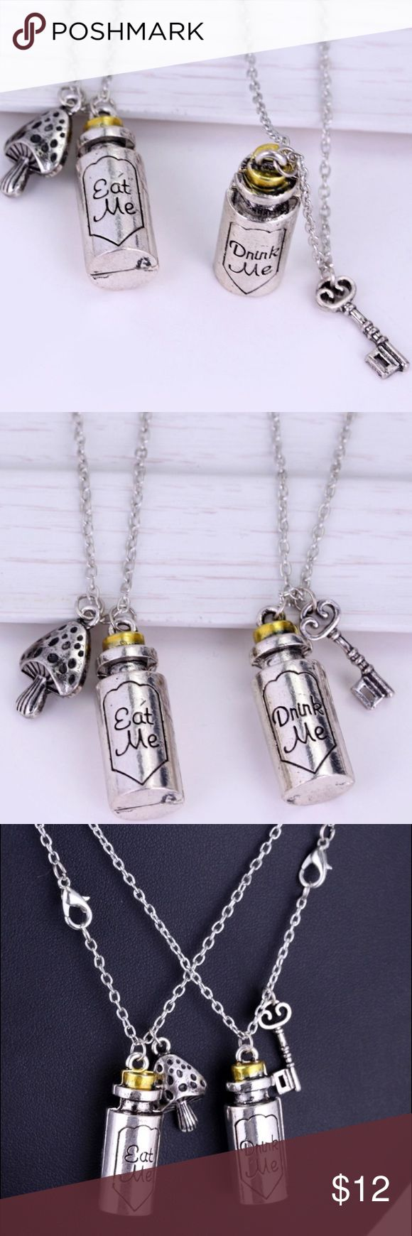 Alice in Wonderland Eat Me Drink Me Necklaces The perfect BFF set for two Alice in Wonderland fanatics. Hot Topic Jewelry Necklaces