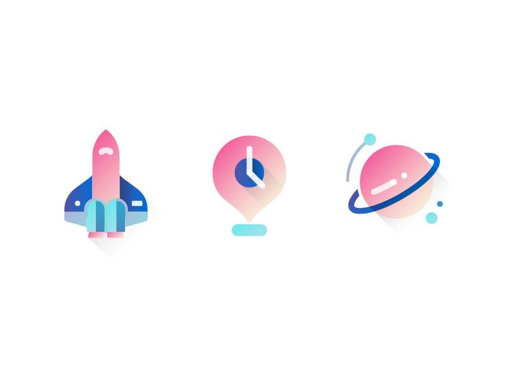 Space icons by Elizabeth Chiu #icon #icondesign #gradient #flat #space #iconography #iconic