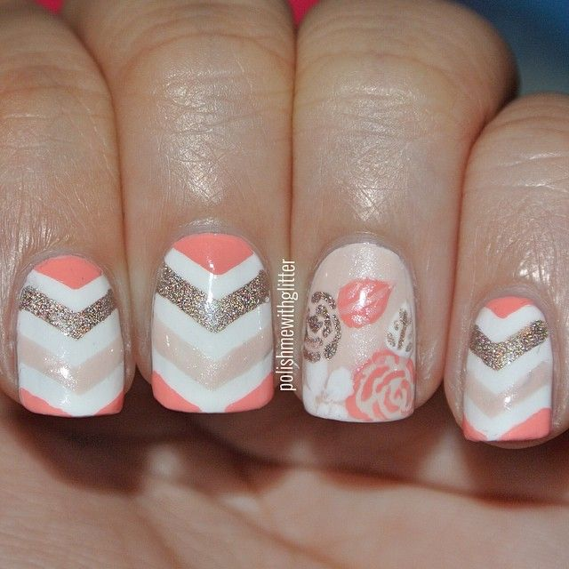 Shades of coral, white and gold chevron stripes with Rose bloom accent nail
