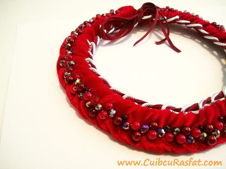 handmade red statement necklace