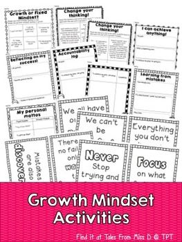 Growth Mindset ActivitiesEncourage a Growth Mindset in your classroom with this activity pack. This pack contains 8 activities to help students understand and develop a growth mindset.Activities;Activity #1 Growth or Fixed Mindset?In this activity, students read through the sayings and determine whether they are fixed or growth mindset.Activity #2 Change your thinking!In this activity, students will read the scenario and write what the person could do to approach the task with a growth…