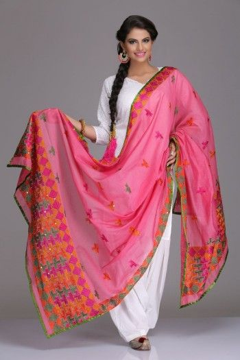 Soothing Pink Chanderi Dupatta With Multicoloured Phulkari Embroidery