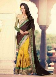 Sizzling Fashionable Designer Embroidered Party Wear Sari With A Traditional Touch