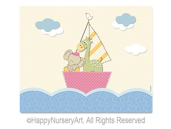 Giraffe and elephant sailing in a boat, nursery wall art, girls room decor, sea, baby room picture art print. $15.00, via Etsy.