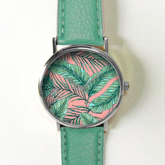 Palm and Banana Leaves Watch , Vintage Style Leather Watch, Women Watches, Unisex Watch, Boyfriend Watch, Men's Watch, Teal Pink