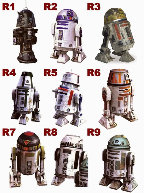 Droids R1-R9 <---- I never knew! ::hangs head in shame:: here, here's my geek card, I don't deserve it.