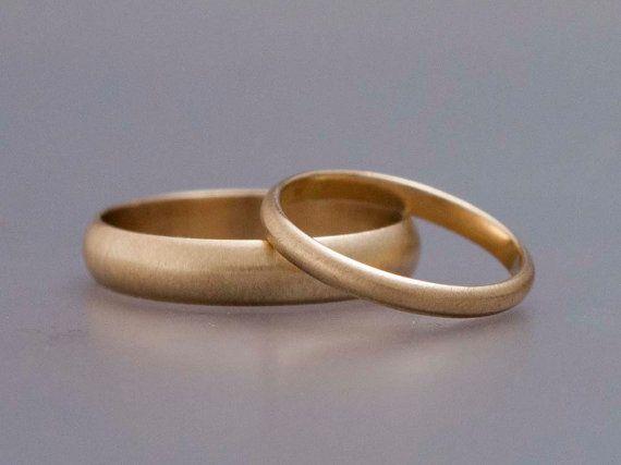 Gold Ehering gesetzt, sein und ihrs - Classic 2mm und 4mm Breite eine halbe Runde Bands in 14k Gold Gelb