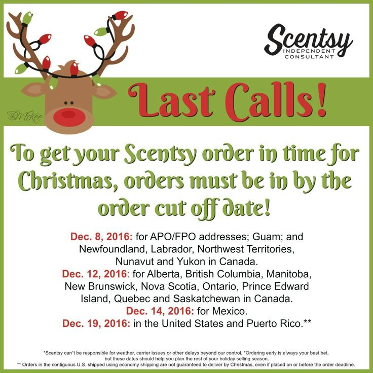 Scentsy cut off dates are approaching quickly!! Get your orders in asap! Christmas is coming up fast. Merry Christmas!