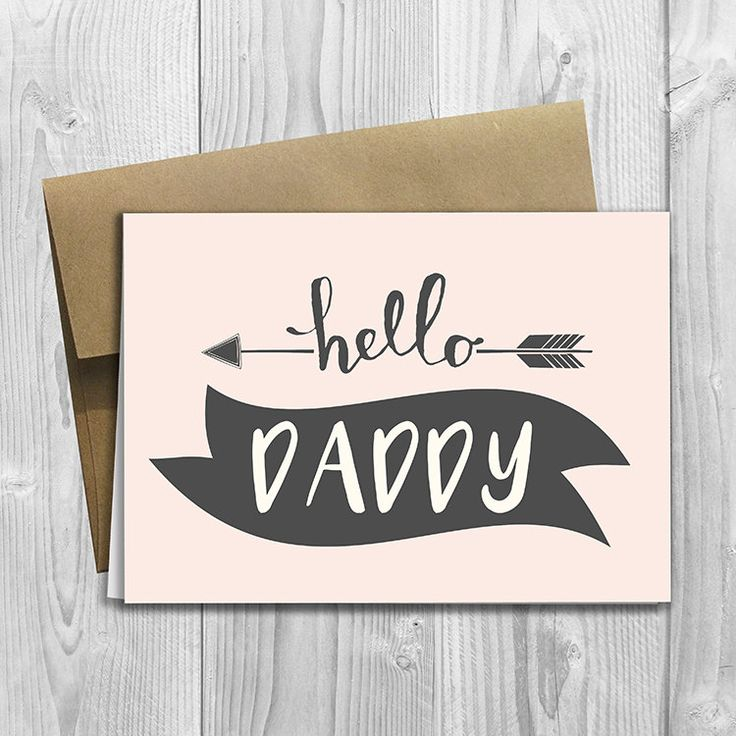 PRINTED CUSTOM Hello Daddy Pregnancy Announcement 5x7 Greeting Card - Cute Expecting Notecard by DesignsLM on Etsy