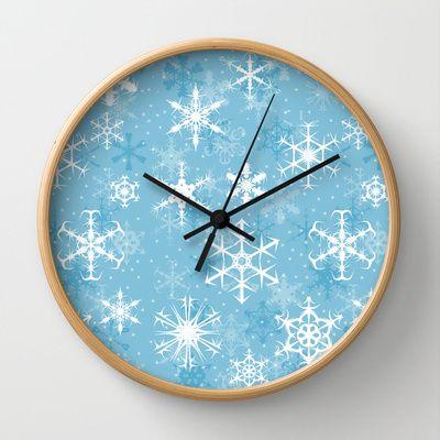 Snowflakes Wall Clock - Available Here: http://society6.com/rapplatt/Snowflakes-vyM_Wall-Clock#33=283&34=286