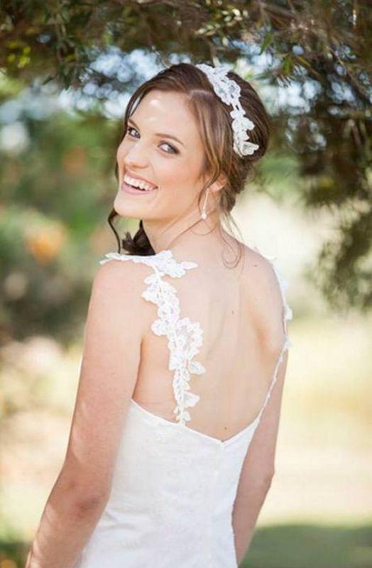 Classic custom wedding dress with lace shoulder straps and custom hair band by Maryke www.maryke.co.za #WeddingDressesByMaryke Photo by http://www.flamingfirephotography.co.za/