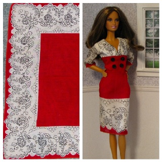 Red Barbie doll dress and the vintage hankie it was made from